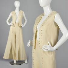 Xs 70s Wool Vest with Palazzo Pants Vtg Set Rhinestone High Waist Wide Leg