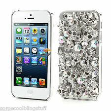 NEW COOL LUXURY BLING SILVER SKULL DIAMANTE CASE 4 SAMSUNG GALAXY S7 S8 S9 UK