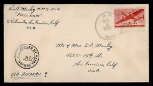 DR WHO 1942 NAVY FULCRUM AIRMAIL TO USA WWII CENSORED  f82135
