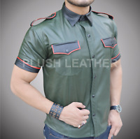 Mens Very Hot Real Sheep Leatherin Army Green Police Uniform Shirt Bluf Gay