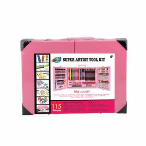 115 Pcs Deluxe Kids Art Set Box Case Painting Drawing Pencils Crayon Oil Pastels