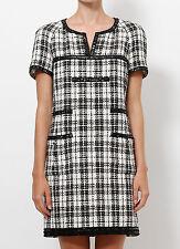 Womens Chanel 07P Black & White Tweed Plaid Short Sleeve Dress Size 36