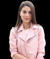 ZARA Pink Faux Leather Short Biker Jacket With Zips Woman 3046/221 RRP GBP 39.99