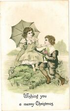 MERRY CHRISTMAS Boy and Girl Couple Vintage Embossed Coloured PC c1910