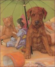Irish Terrier Puppy, Dog under Beach Umbrella w Toys by D Thorne print 1934