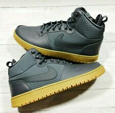 New Nike Court Borough Mid Winter Waterproof Boots Grey Leather Men UK 11 EU 46