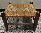 Antique Vintage Primitive Woven Rope Twine Wood Wicker Footstool Foot Stool GUC