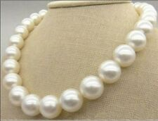Huge 12-13mm Natural south sea round white pearl necklace good luster AAA