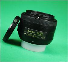 Nikon AF-S 35mm F1.8 G Autofocus Prime Lens + F / R  Caps  Excellent Lens