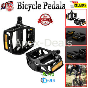 """Bicycle Pedals Metal Alloy Flat Platform 9/16"""" Inch 14mm for Road Mountain Bike"""