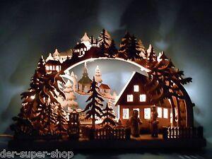 Schwibbogen 3D mit 2 Figuren Winterkinder Grau 43 x 30 cm Erzgebirge NEU 10614
