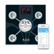 Wave Medical Advanced Bluetooth BMI Body Fat Fitness Digital Bathroom Scale w...