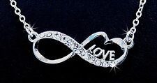 Heart Infinity Crystal Silver Tone Pendant Valentine Necklace Never Ending Love