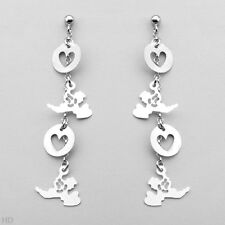 Made in 925 Sterling silver Heart & Angles Earrings Beautifully