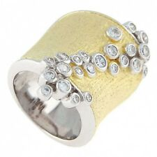 STERLING SILVER DOME CIGAR SHAPE GOLD OVERLAY CZ BAND RING
