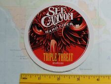 Beer STICKER ~ SEE CANYON Triple Threat Dry Hopped Hard Cider ~ CALIFORNIA ~ OWL