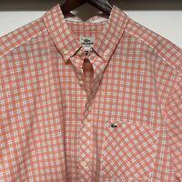 Lacoste Button Up Shirt Men's 44 XL Short Sleeve Peach & White