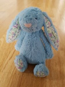 """JELLYCAT Blossom Bunny Beige BLUE FLORAL Liberty Fabric EARS Plush Soft Toy 8"""""""