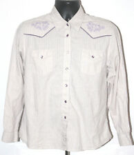 Wrangler Pearl Snap Shirt Large Button Down Purple Embroidered Hipster Western