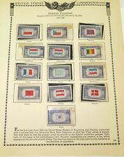 ".1943 - 1944 US STAMP COMMEMORATIVES, 5c SET ""OVERRUN COUNTRIES"". UNUSED HINGED."