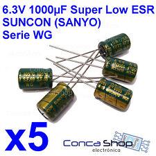5 x CONDENSADOR ELECTROLITICO SUNCON - SANYO 6.3V 1000uF 105º WG SUPER LOW ESR