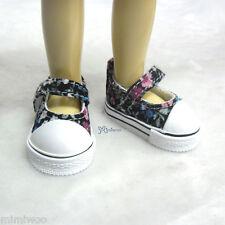Yo-SD 1/6 Bjd Dollfie Leeke Doll Mary Jane Denim Maryjane Shoes Black Flower