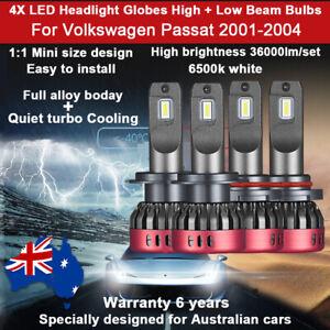 For VW Volkswagen Passat 2002 2003 4x Headlight Globes High low Beam 36000lm Set