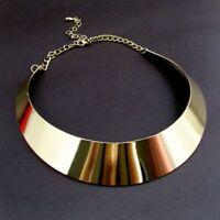 Mottle Bib Metal Punk Wide Women Gold Plated Collar Necklace Choker Rock Style