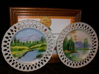 2 MID CENTURY RETICULATED WALL PLATES ARTIST Y. FUNIBASHI JAPAN HAND PAINTED