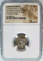 Tiberius Claudius Nero Roman Republic BC NGC AU Denarius Serratus Ancient Tyrant