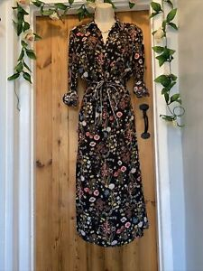 MARKS & SPENCER DAY WEAR HOLLY FLORAL MEADOW BUTTON SHIRT MIDI DRESS SIZE 12