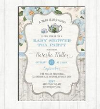 Blue Floral Baby Shower Invitation Kitchen Tea Party Invite Shabby Chic Flowers