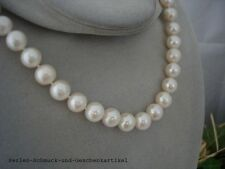 Collier Echte Perlen 10mm / 45cm Weiß Rund Handarbeit, Zirkonia Magnetverschluss