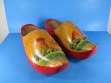 Vintage Holland Dutch Wooden Shoes Pair Hand Painted Decorative Clogs VS1