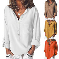 Womens Long Sleeve Loose Button Pocket Shirt Casual Tunic Blouse Summer Tops Tee