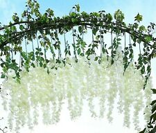 2pc Ivory Wisteria Artificial Flower Vine Ivy Garland Fake Floral Hanging Bunch
