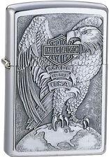 Zippo Harley Davidson HD Eagle On Globe, Brushed Chrome Lighter, 200HD.H231 L@@K