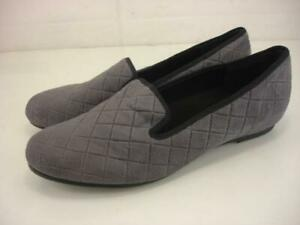 Women's 11.5 W Wide Munro American Jerrie Gray Quilted Ballet Flat Shoes Loafers