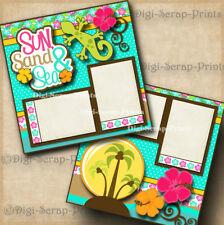 Sun Sand & Sea 2 premade scrapbook pages paper piecing layout beach By Digiscrap