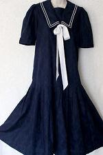 Laura ASHLEY VINTAGE 1930s Stile Blu Gatsby Flapper Abito del Marinaio, 8 (10 etichette)