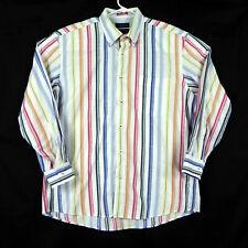 Claudio Campione Yachting XL Shirt Mens Vertical Stripes Multicolor Pure Cotton