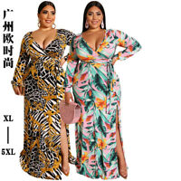 Plus Size Women V Neck Long Sleeves Printed High Slit Sexy Maxi Dress Casual