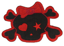 Red Skull with Bow Patch (3 x 2 Inches)