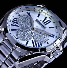Große Excellanc Damen Armband Uhr Blau Silber Farben Metall Glitzer