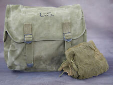 #4 Original US WWII Musette Pouch Dated 1944 With Original US WWII Mosquito Net