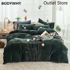 Velvet Fleece Stereoscopic Embroidery Duvet Cover Bed Fitted Sheet Bedding Set