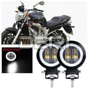 2X 3in LED Work Light Spot Lamp Offroad Pod White Angel Eye Halo UTV ATV Driving