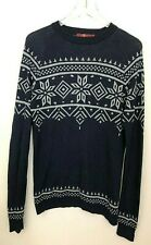 7 For All Mankind Mens Lightweight Sweater Blue Navy Gray Nordic Alpine LS Sz L