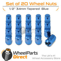 Blue Wheel Nuts (20) 1/2 Tapered 34mm For Jeep Commanche 85-96