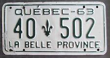 Quebec 1963 License Plate # 40-502
